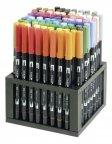 Tombow ABT Dual Brush -pensselikynä, 96 pensselikynää ja pöytäteline