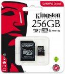 Kingston 256 Gt microSD Canvas Select UHS-I Speed Class 1 (U1) -muistikortti